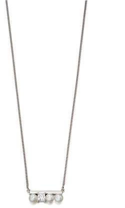 Picture of Cream Pearl And CZ Row Necklace In Silver