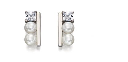 Picture of Cream Pearl And CZ Row Earrings In Silver