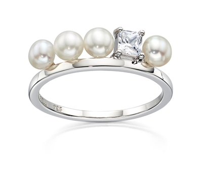 Picture of Cream Pearl And CZ Row Ring In Silver