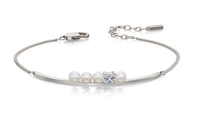 Picture of Cream Pearl And CZ Row Bracelet In Silver