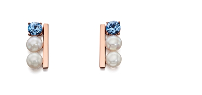 Picture of Cream Pearl And Semiprecious Row Earrings In Rose Gold