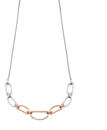 Picture of D Ring Necklace In Silver & Rose Gold
